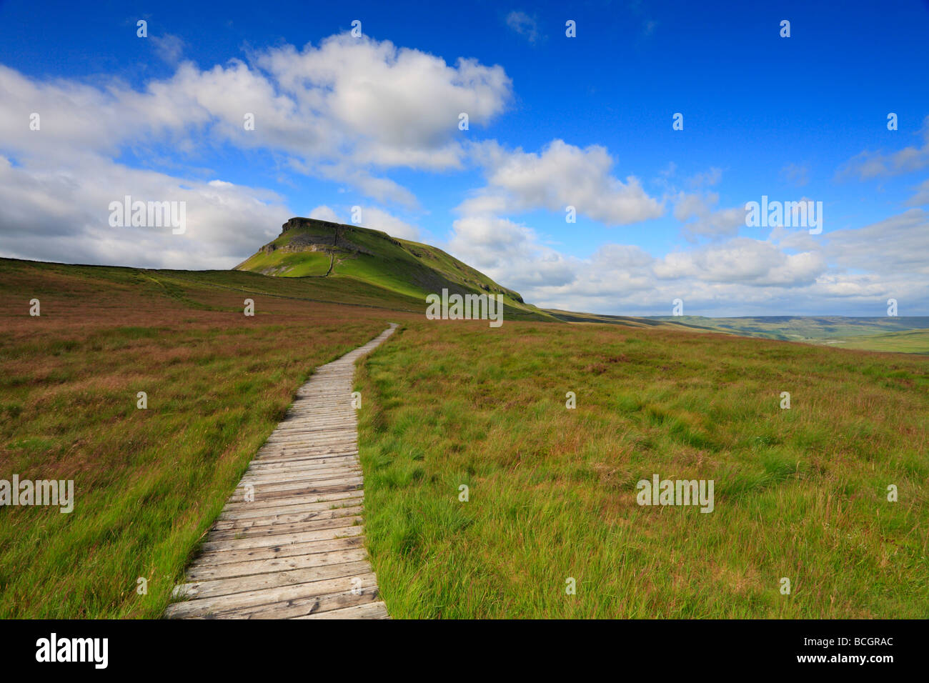 The Pennine Way Pen-y-ghent Yorkshire Dales National Park North Yorkshire England UK - Stock Image