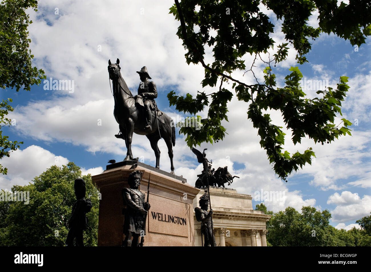 London Hyde park corner Statue of the Duke of Wellington  2009 - Stock Image
