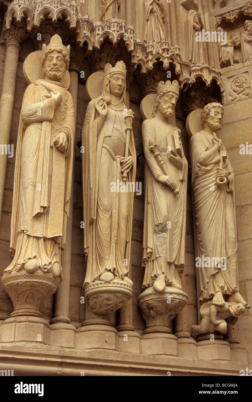 Staues at Portal of Sainte Anne at Notre Dame in Paris France Stock Photo