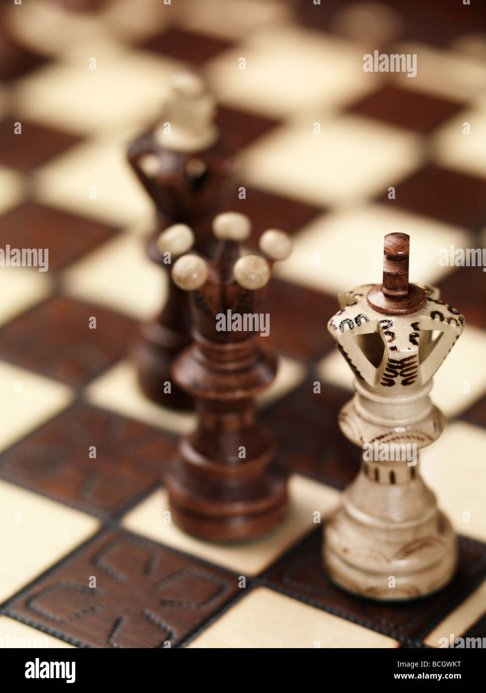 Checkmate situation on a chessboard - Stock Image