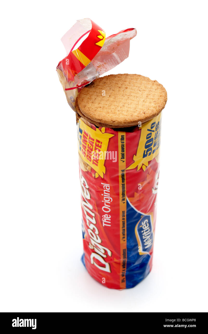 'Open top' on a packet of  'Digestive biscuits' - Stock Image
