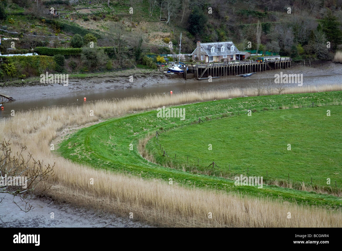 river tamar and boat house Stock Photo