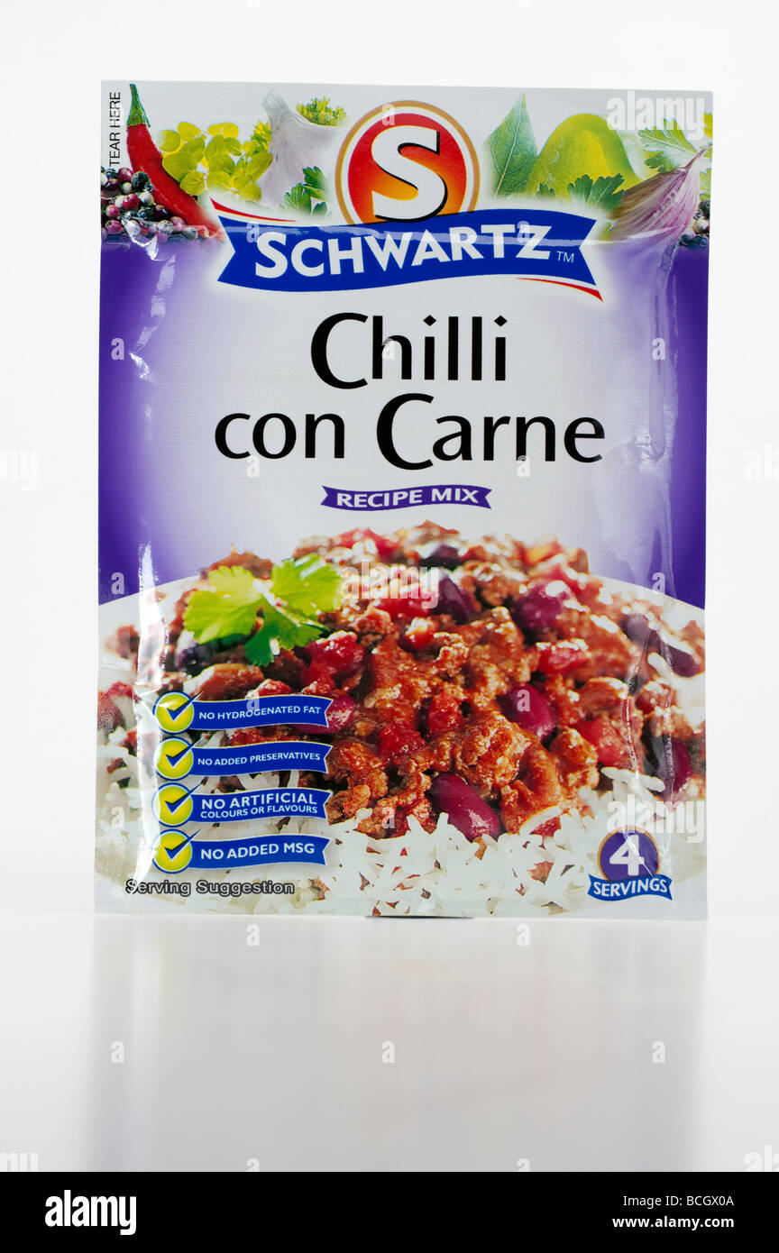 Packet of Schwartz 'Chilli Con Carne' recipe mix - Stock Image