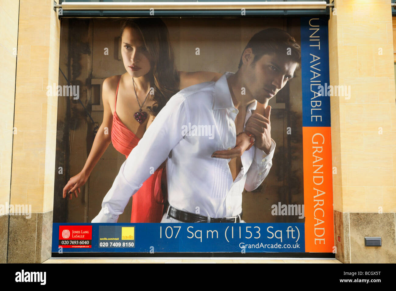 Poster advertising Shop unit available in the Grand Arcade Shopping centre Cambridge England UK - Stock Image