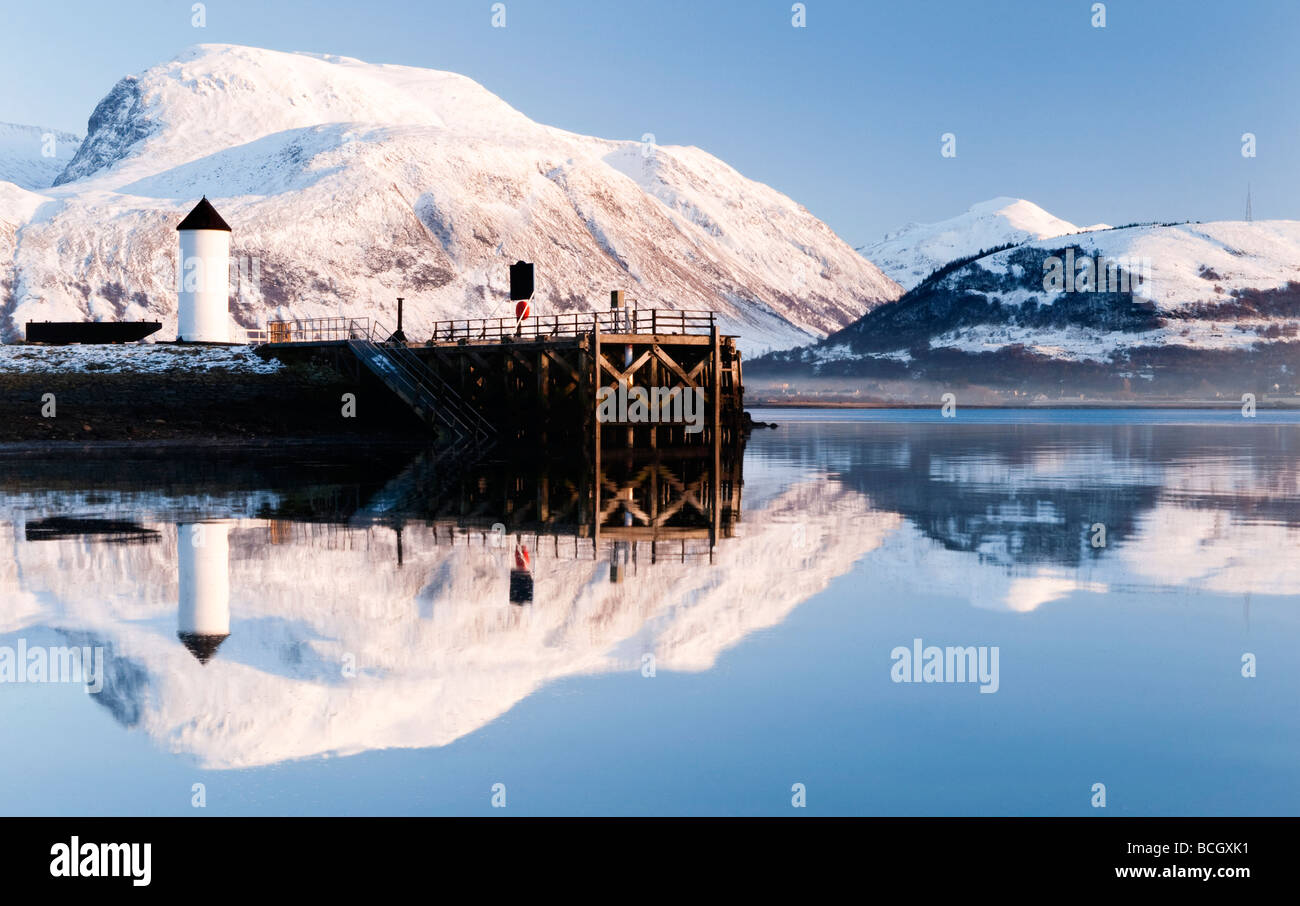 Corpach Lighthouse on Loch Eil with Ben Nevis and Fort William in the background, Highland Region, Scotland, UK Stock Photo