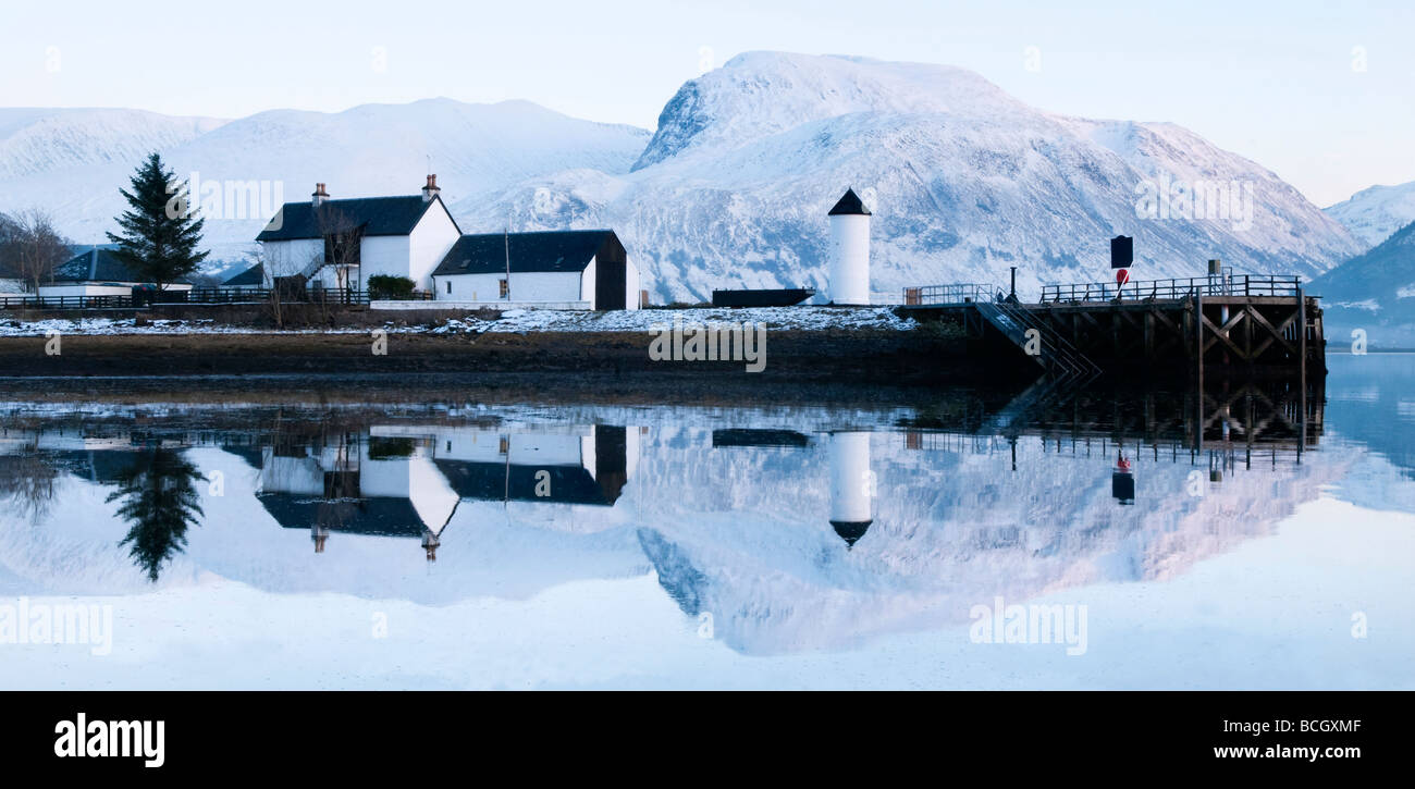 Corpach Lighthouse on Loch Eil with Ben Nevis and Fort William in the background, Highland Region, Scotland, UK - Stock Image