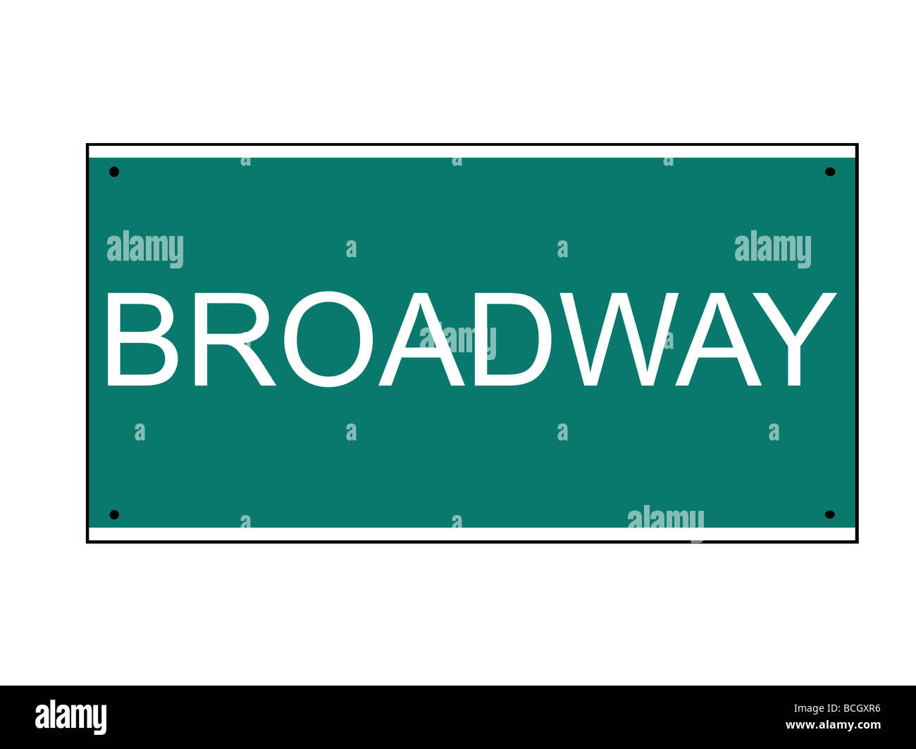 Broadway street road sign isolated on white background New York U S A - Stock Image