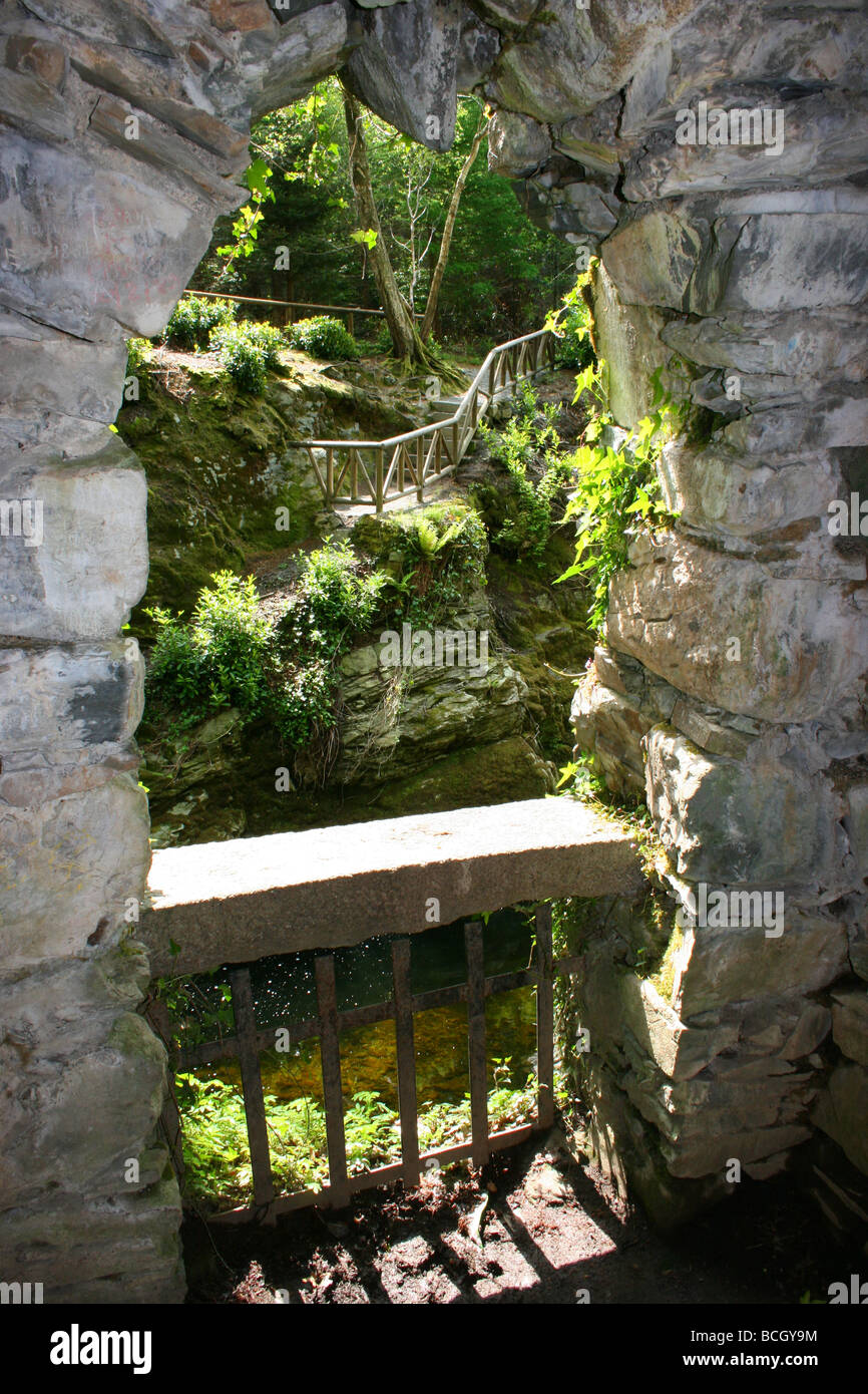 looking out from The Hermitage in Tollymore Forest Park, County Down, Northern Ireland Stock Photo