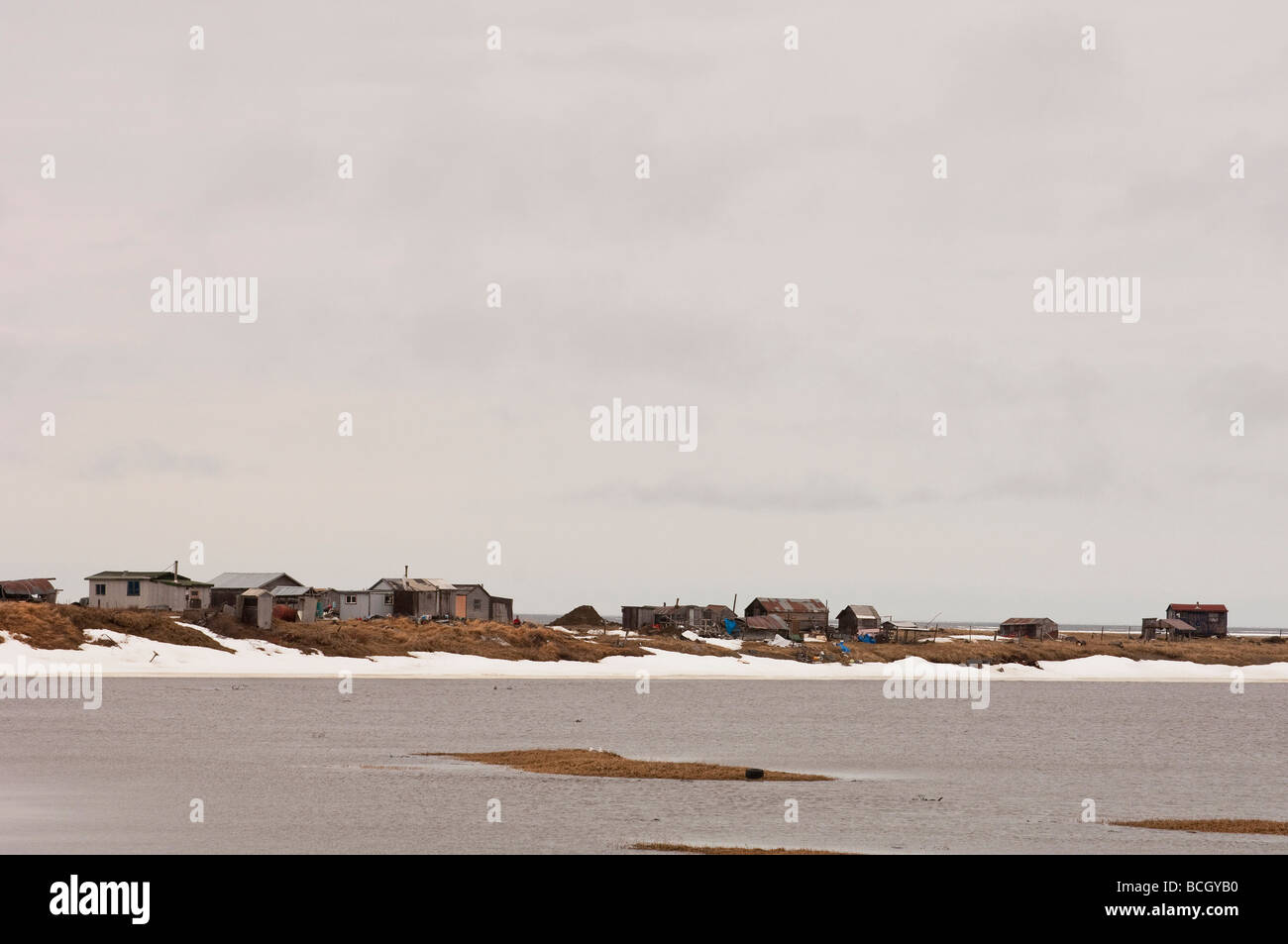 A SUBSISTENCE FISHING CAMP AT THE MOUTH OF THE NOME RIVER ON THE BERING SEA - Stock Image