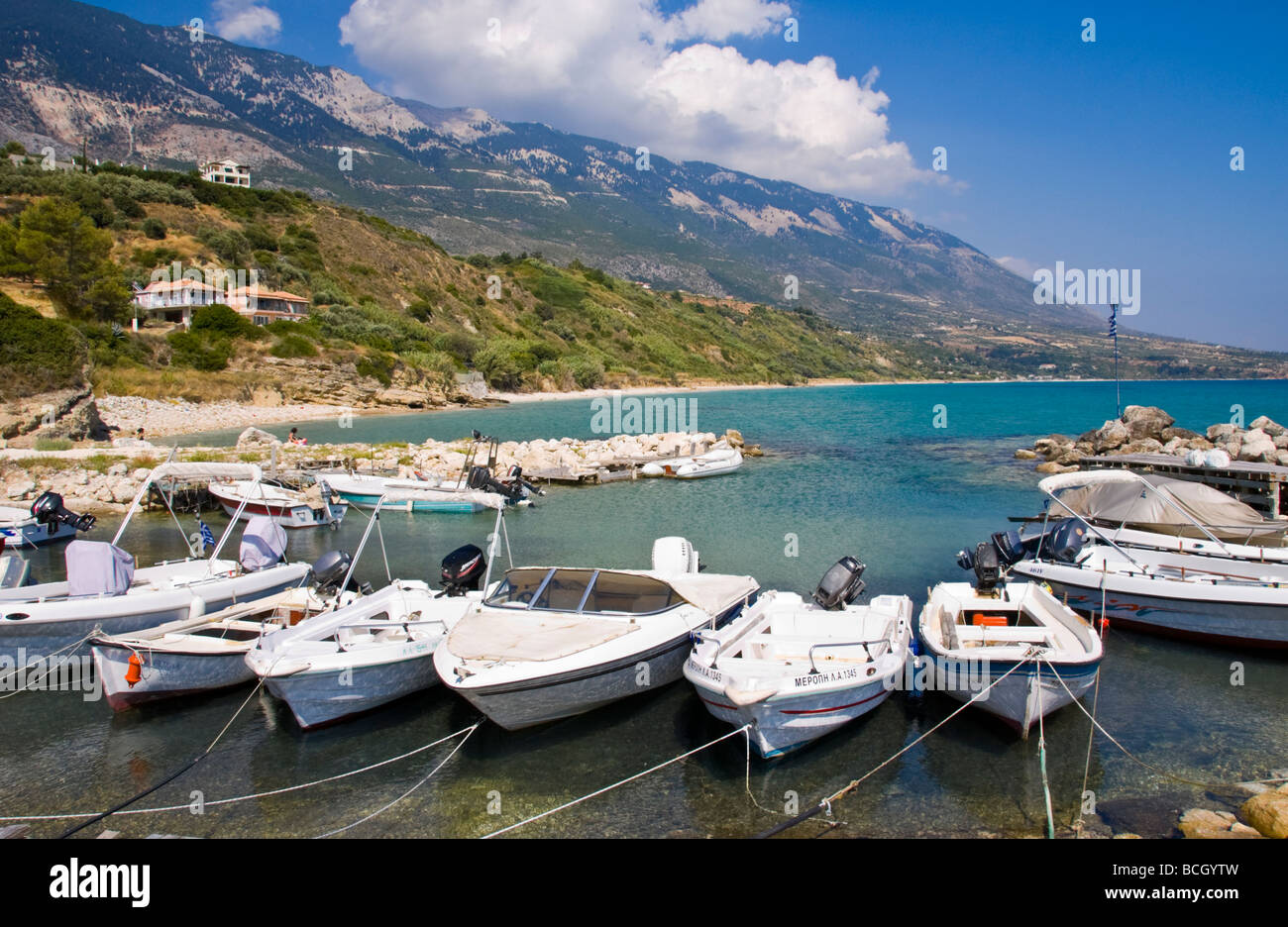 Small local harbour for leisure and pleasure botas at Trapezaki on the Greek island of Kefalonia Greece GR - Stock Image