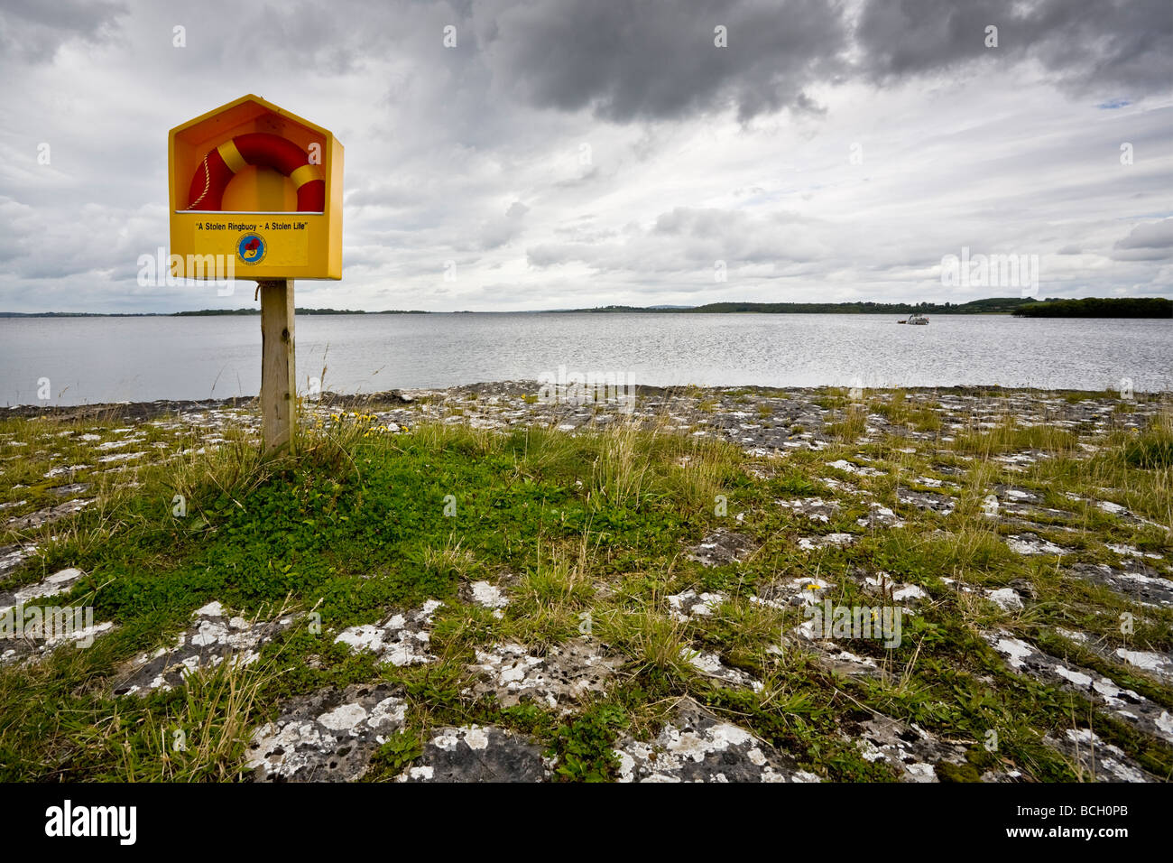 Lifebelt, Barley Harbour, Lough Ree, Cashel, County Longford, Republic of Ireland Stock Photo