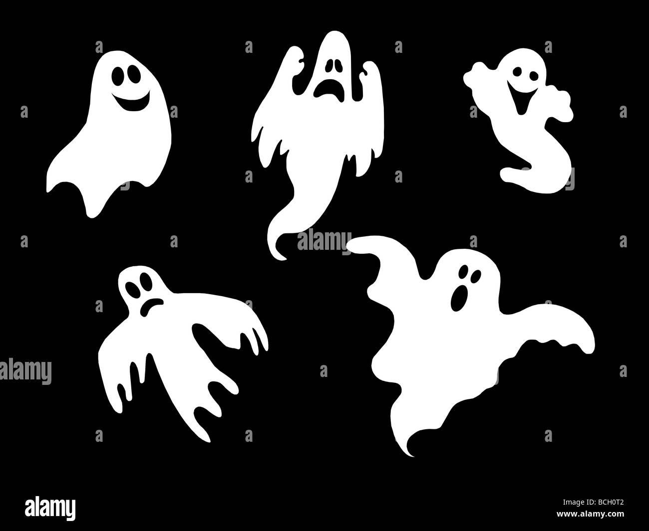 set of halloween ghost - Stock Image