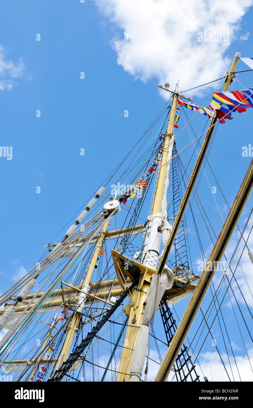Looking up at the masts and rigging of a tall ship - Stock Image
