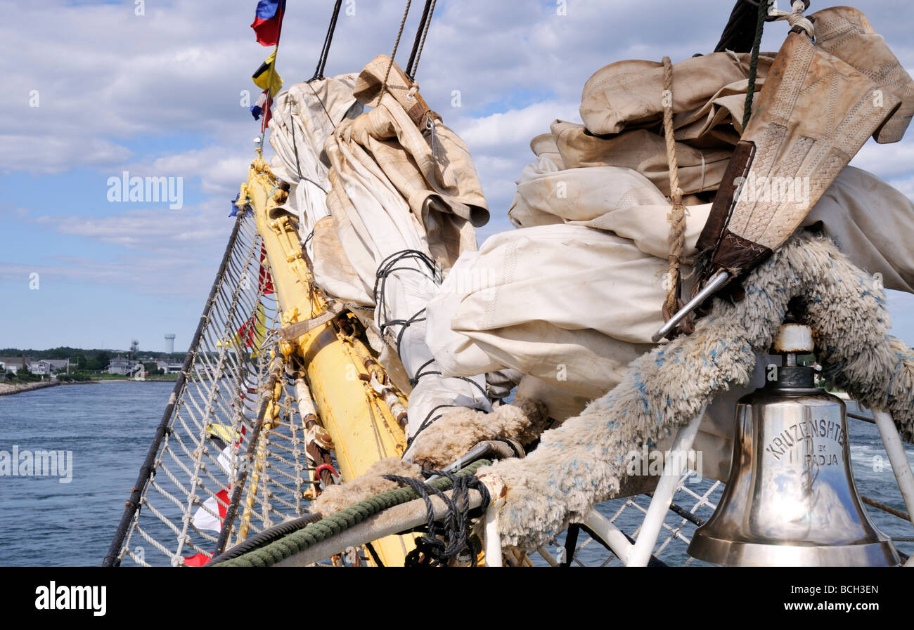 Bowsprit sails and bell on Russian Tall Ship Kruzenshtern - Stock Image