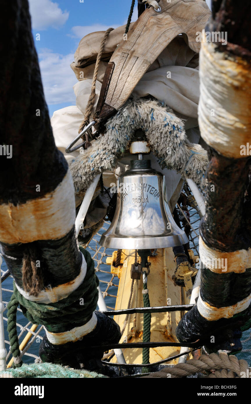 Ships bell on Russian tall ship Kruzenshtern - Stock Image