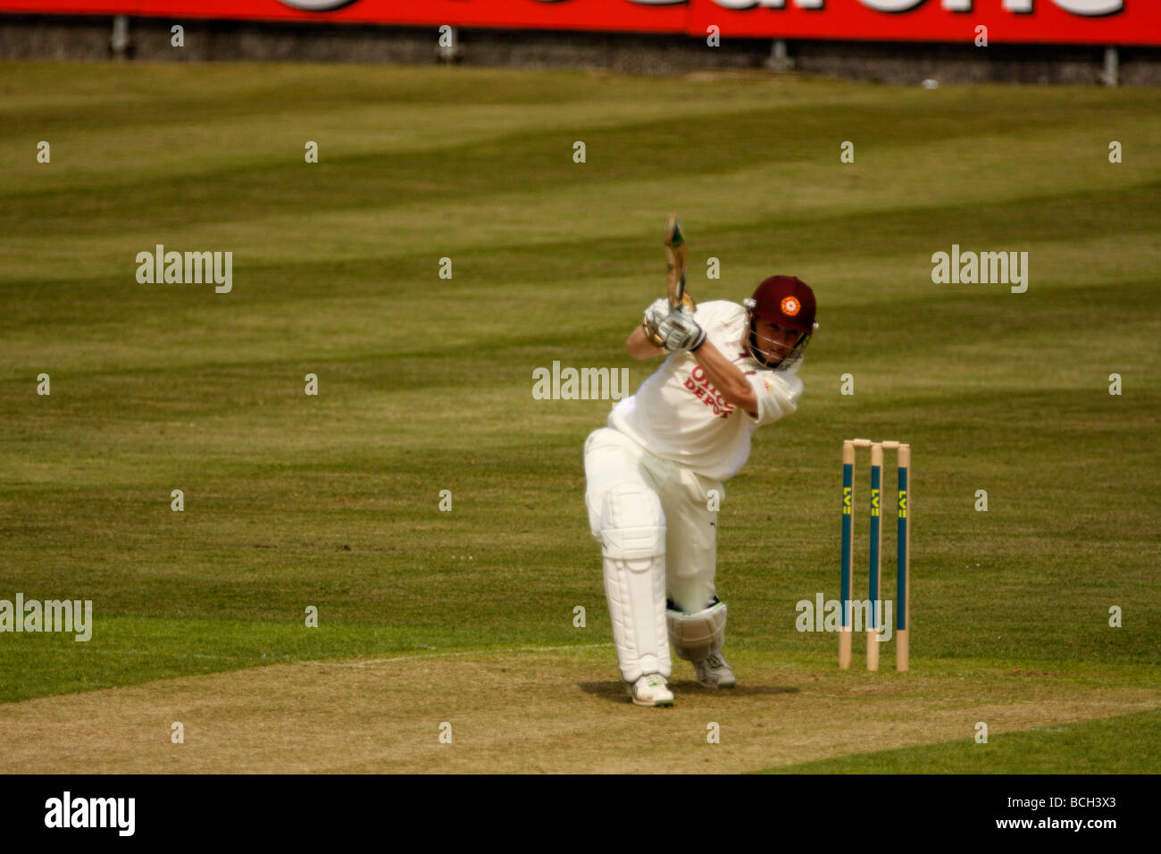 Niall O'Brien batting for Northants v Glamorgan in the County Championship at St. Helen's, Swansea. - Stock Image
