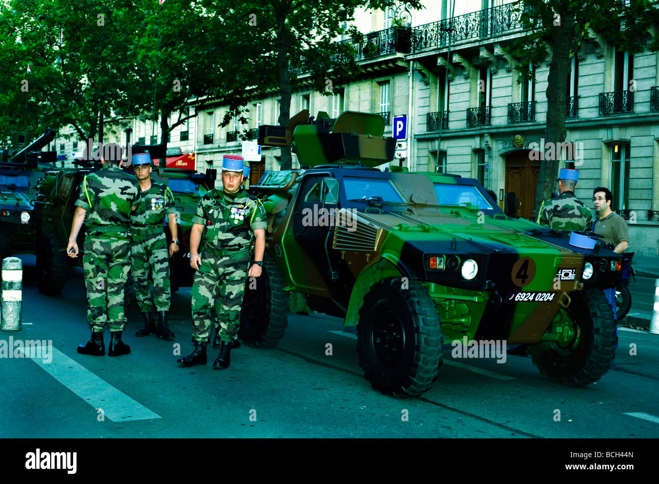 Paris France, Public Events, Bastille Day, Celebration '14th of July' Military Parade  French Army Man - Stock Image