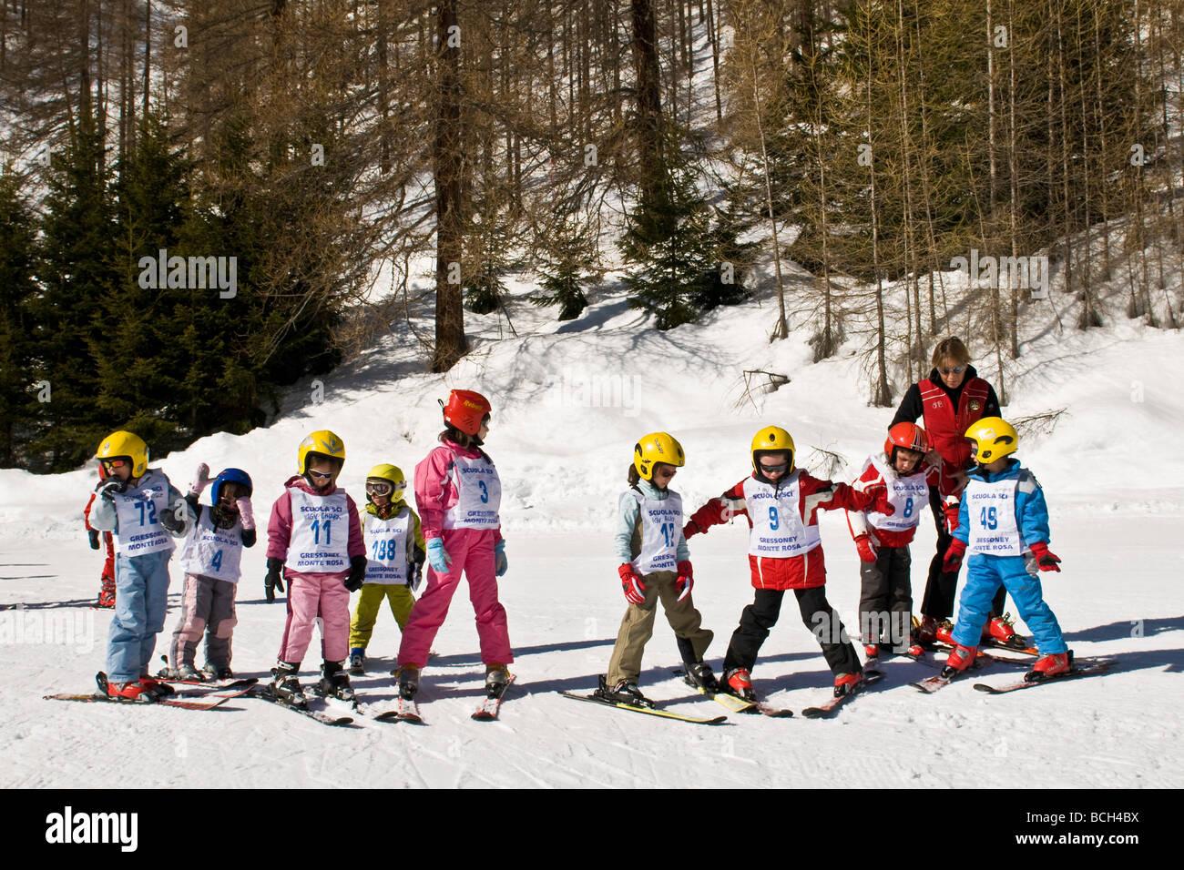 Ski School Gressoney la Trinitè Aosta Italy - Stock Image