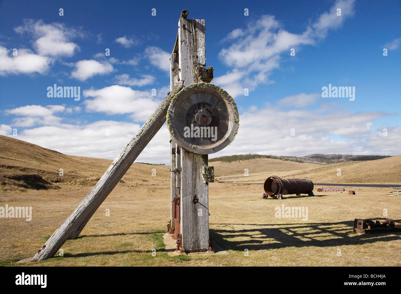 Old Gold Stamping Battery Historic Abandoned Gold Rush Town of Kiandra Kosciuszko National Park Snowy Mountains - Stock Image