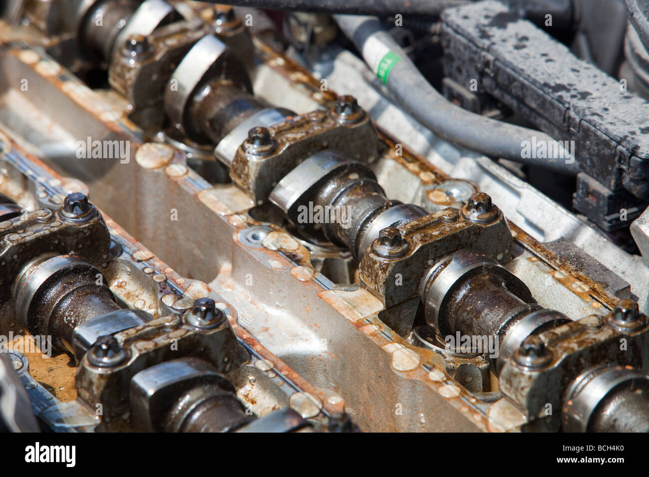 An internal combustion engine in a car Stock Photo