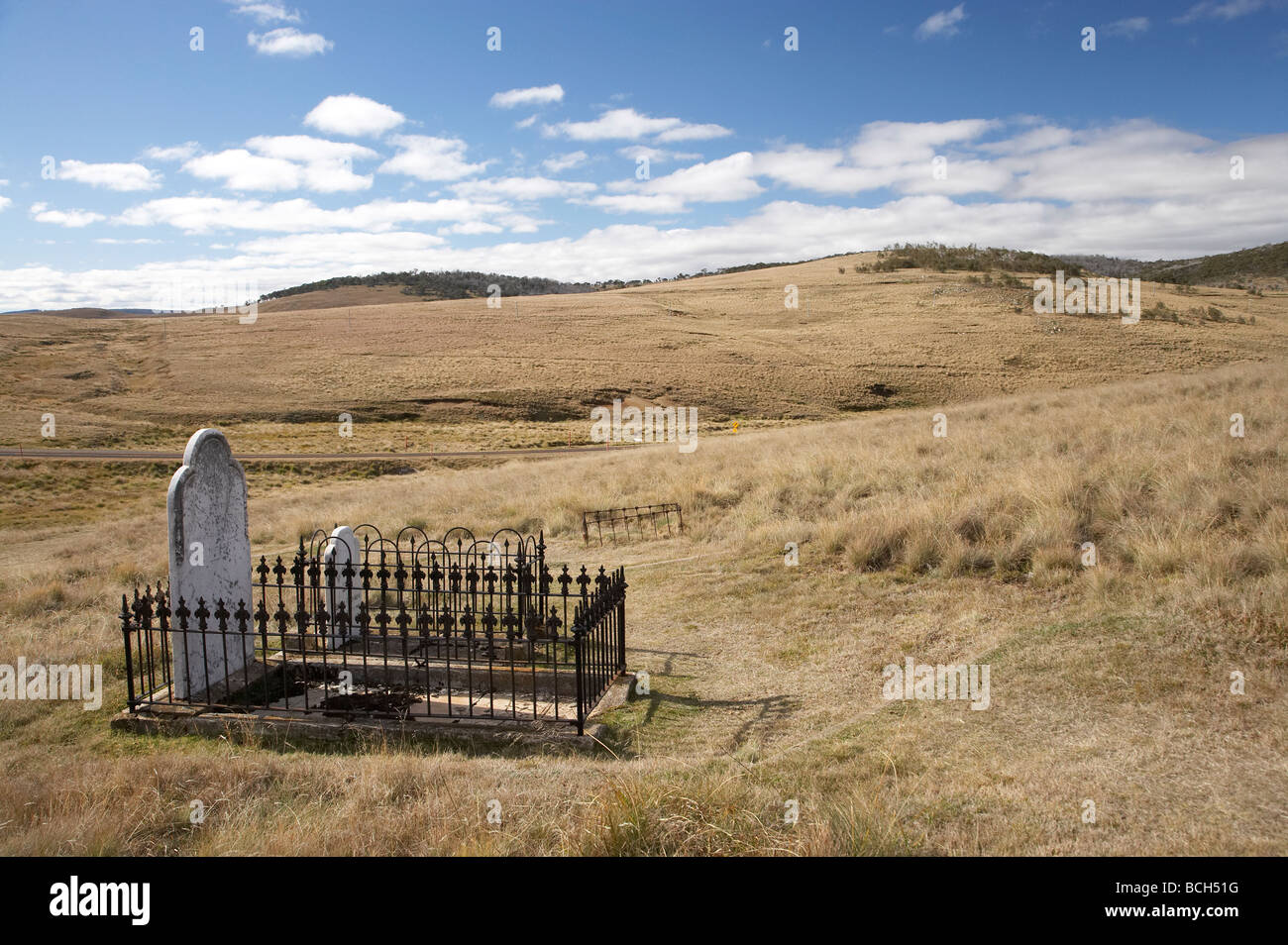 Old Cemetery Historic Abandoned Gold Rush Town of Kiandra Kosciuszko National Park Snowy Mountains New South Wales - Stock Image