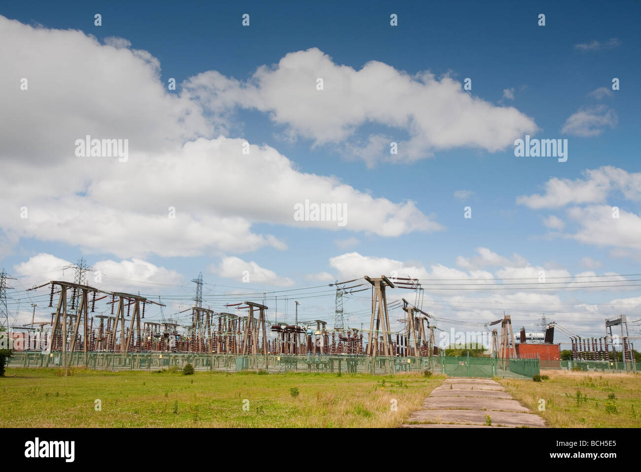 An electricity sub station on the outskirts of Manchester UK - Stock Image