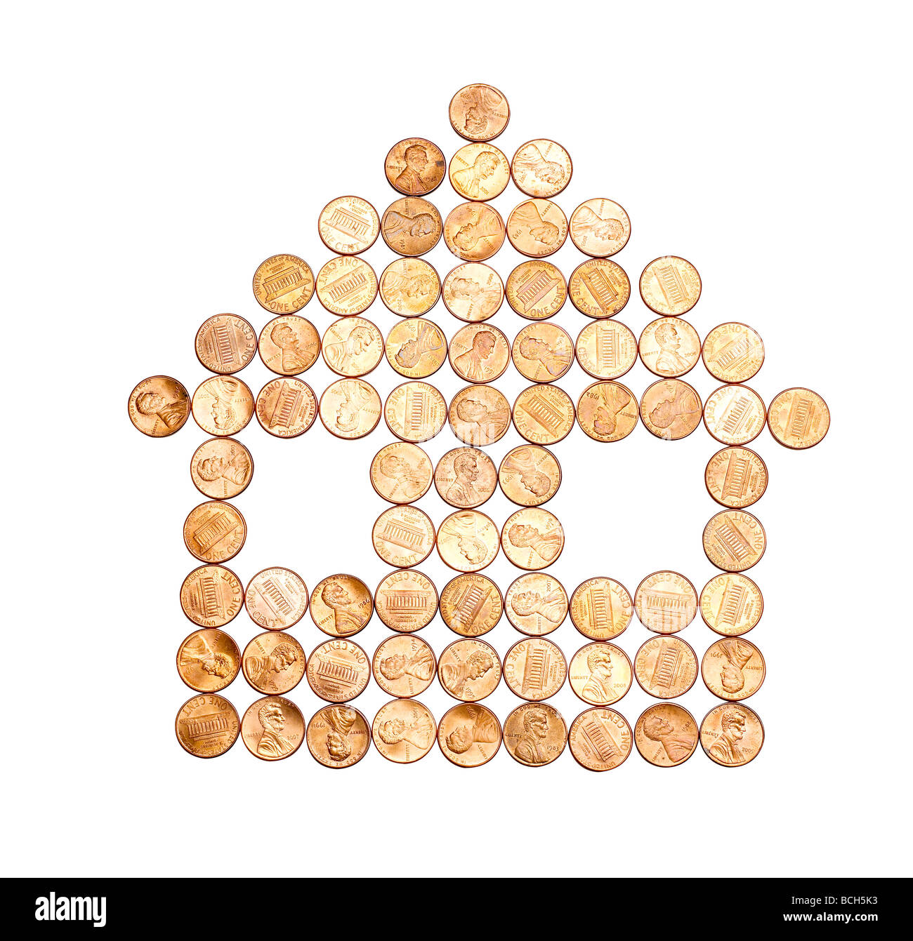 pennies cent elevated view - Stock Image