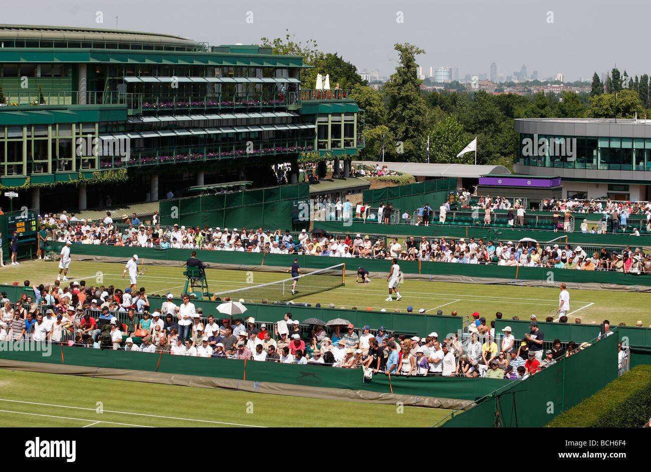Panorama view of the Wimbledon tennis courts - Stock Image