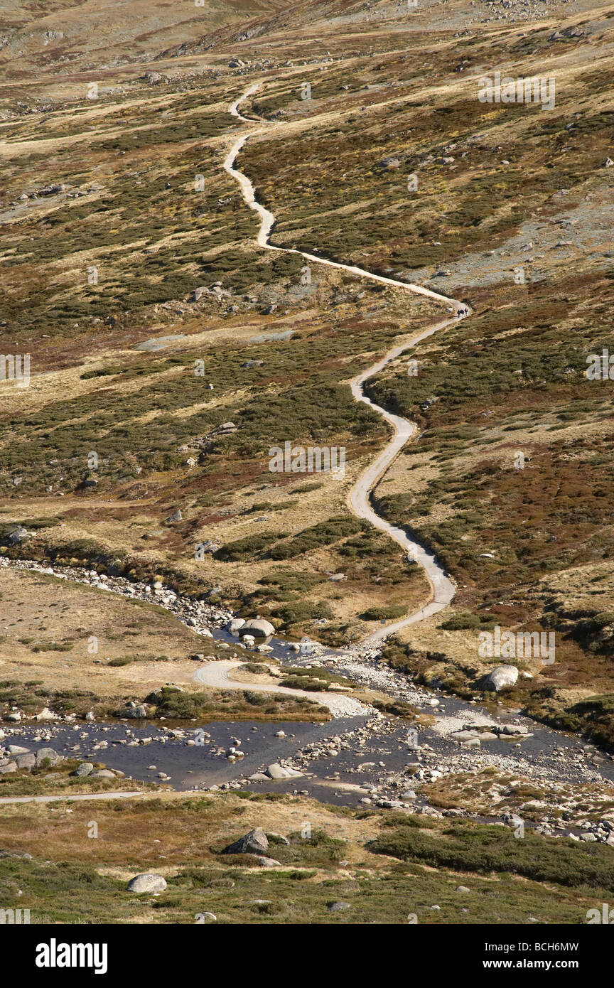 View over Snowy River and Main Range Track Charlotte Pass Kosciuszko National Park Snowy Mountains New South Wales Stock Photo