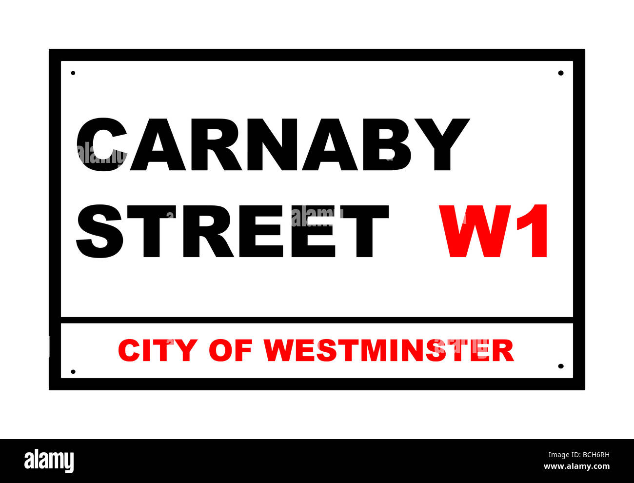 Carnaby Street road sign isolated over white background London England - Stock Image