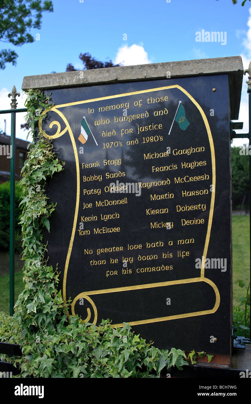 Memorial to the hunger strikers in Belfast - Stock Image