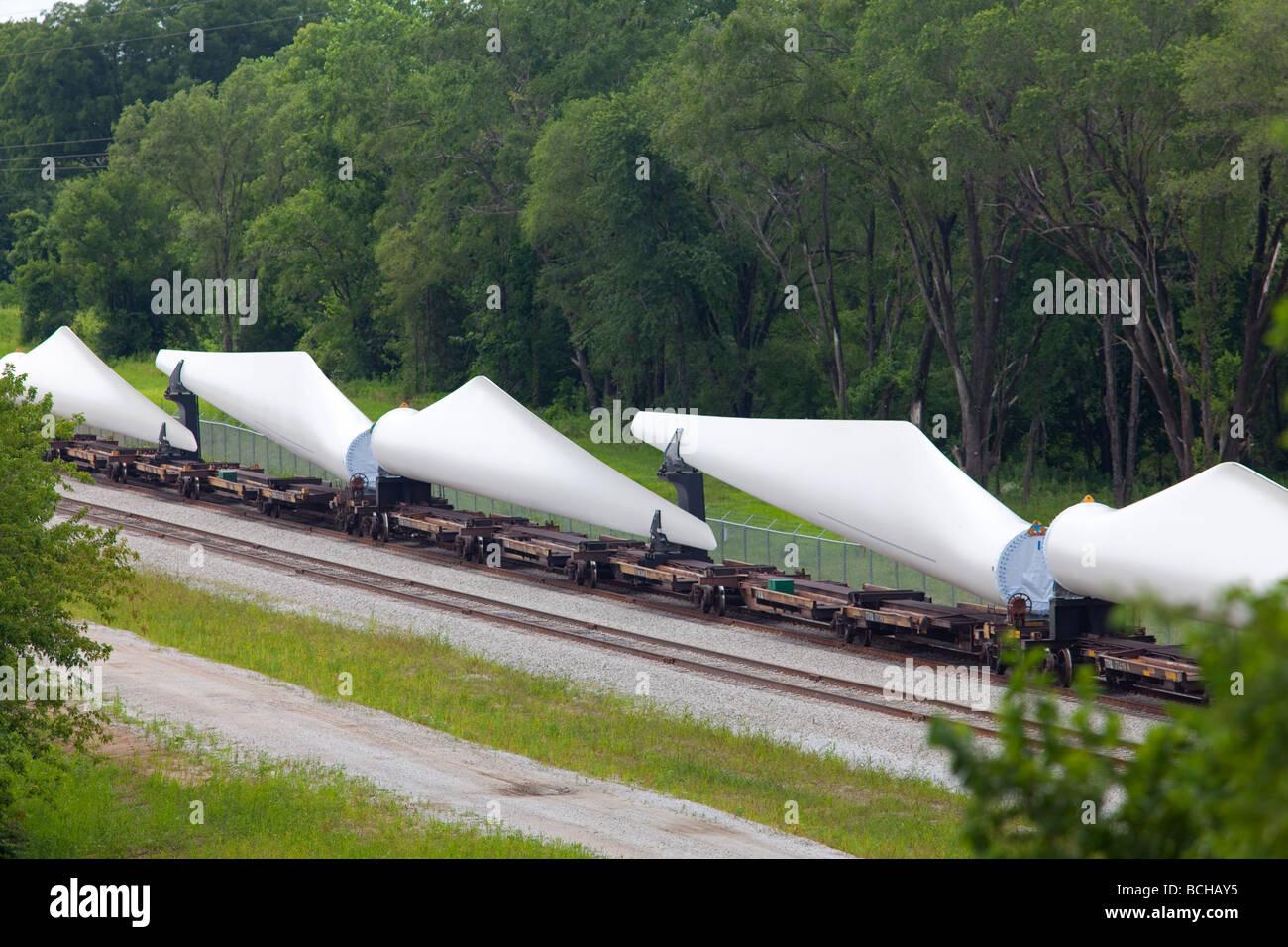 Fort Madison Iowa Wind turbine blades at the Siemens Energy Fort Madison Blade Plant - Stock Image