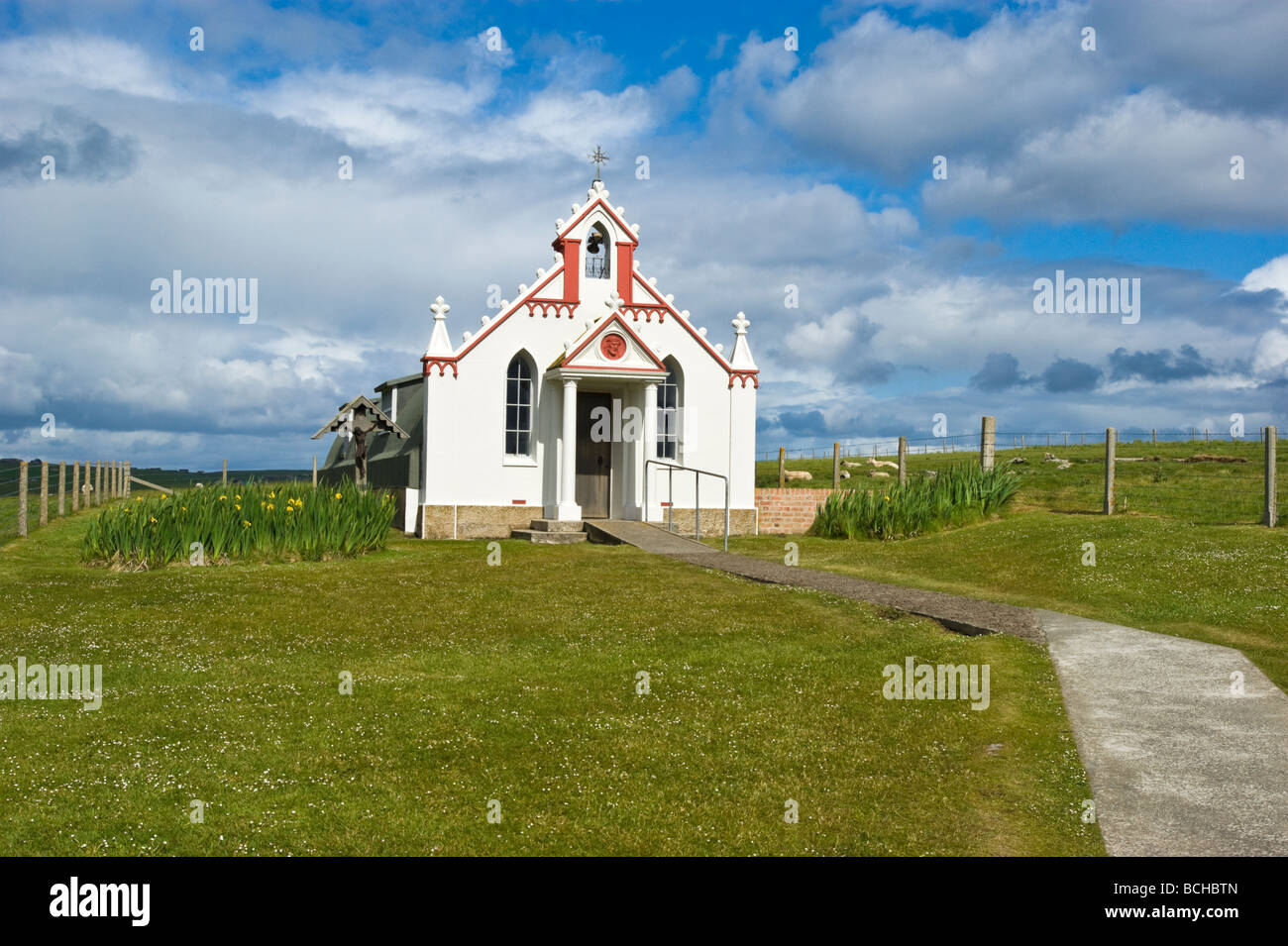 The Italian Chapel on the small island of Lamb Holm in Orkney Scotland - Stock Image
