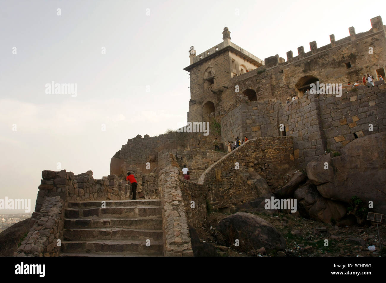 Golconda Fort in Hyderabad in India - Stock Image