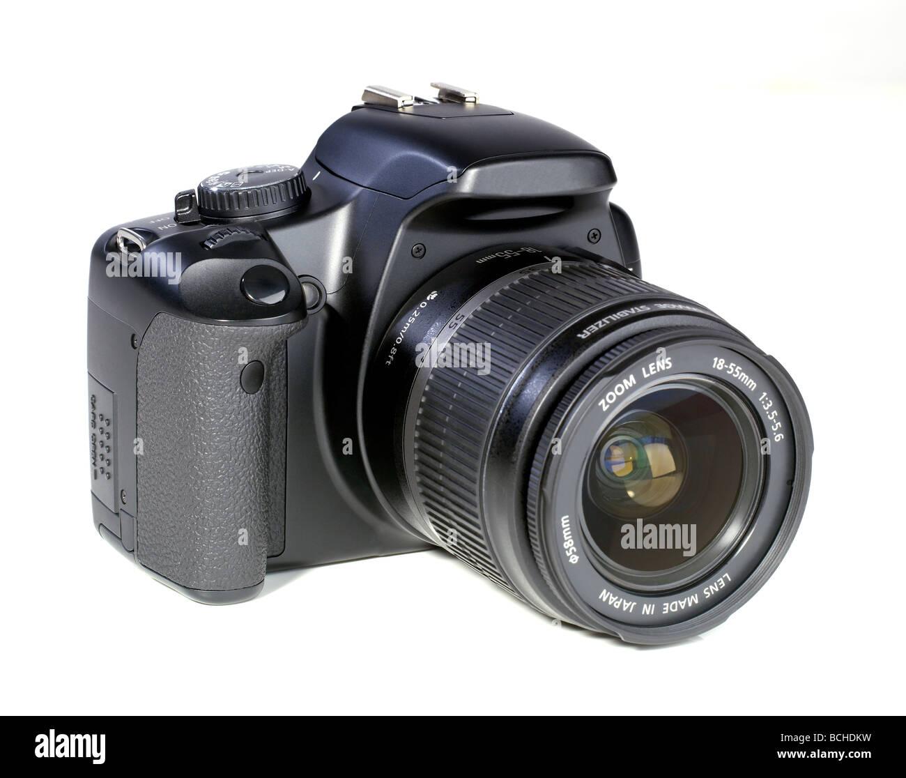 Black digital 35mm DSLR camera single lens reflex - Stock Image