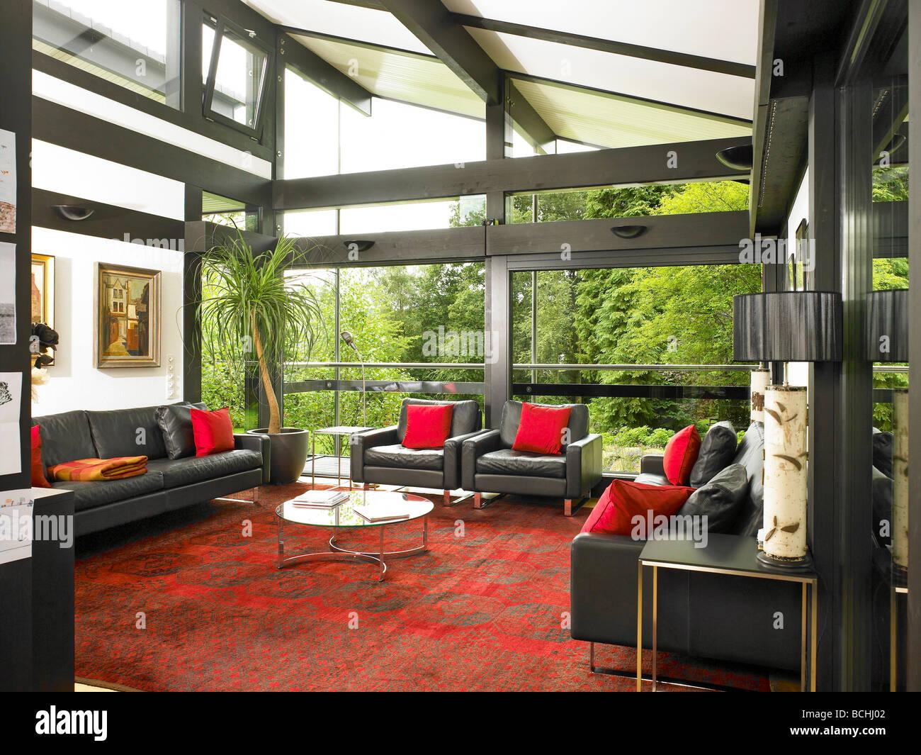 Exterior: Self Build Huf Haus Living Room Interior Stock Photo