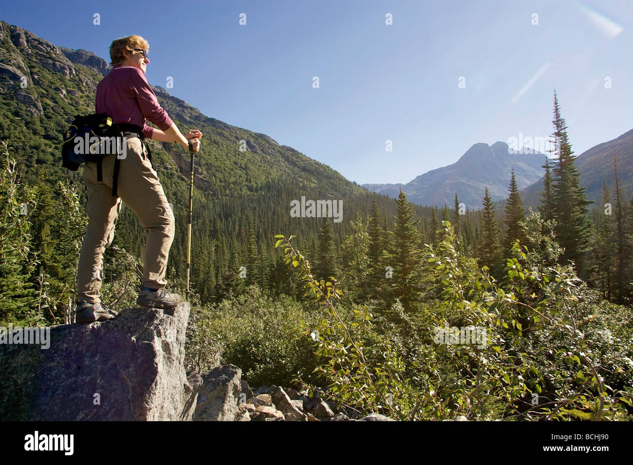 Hiker enjoys the scenery while on the White Pass Trail Heli-Hike hiking tour in the Tongass National Forest, Alaska - Stock Image