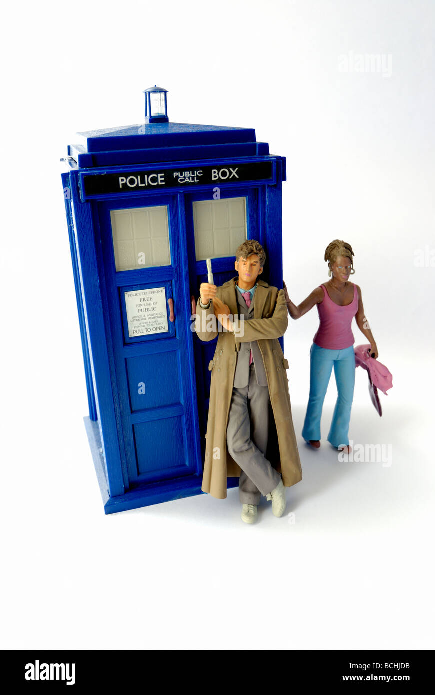 Dr Who with Tardis toy - Stock Image