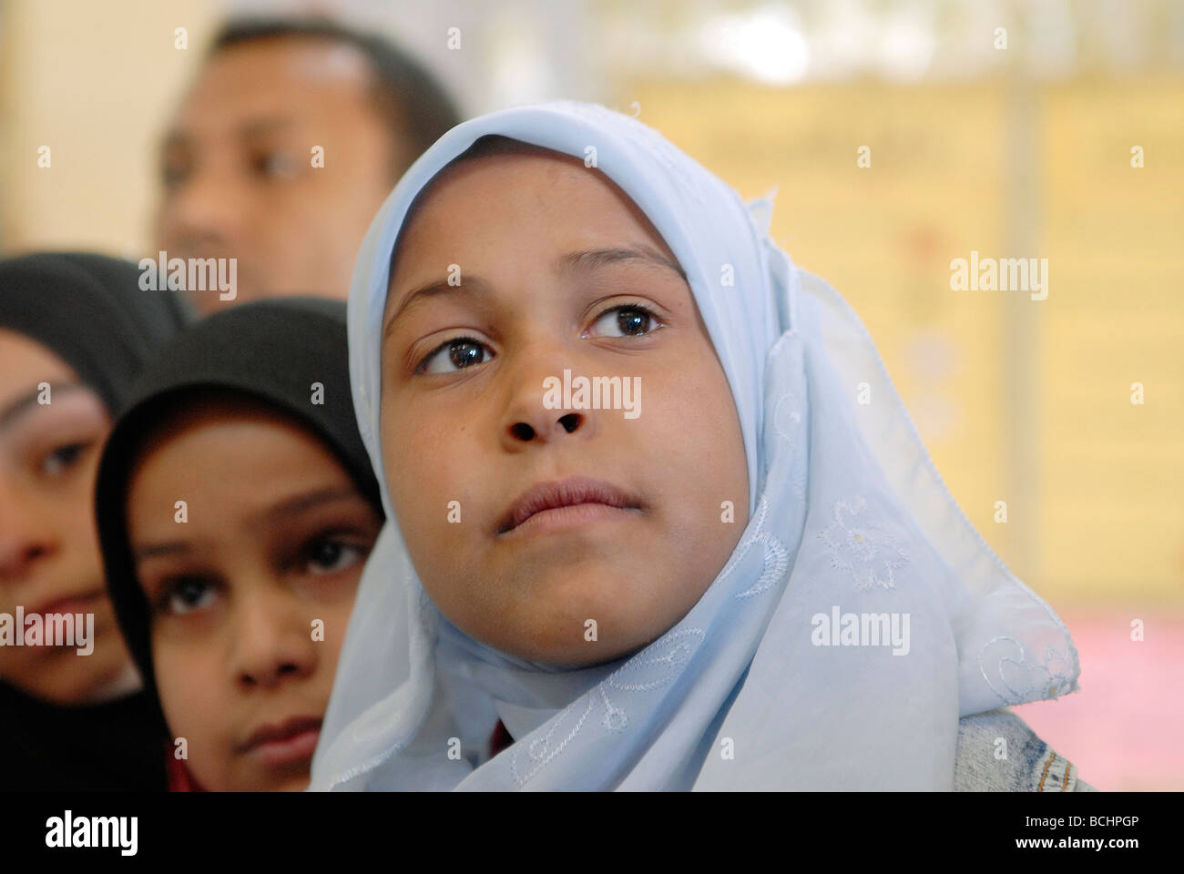 Portrait of a veiled girls at a school in Sohag, Upper Egypt - Stock Image