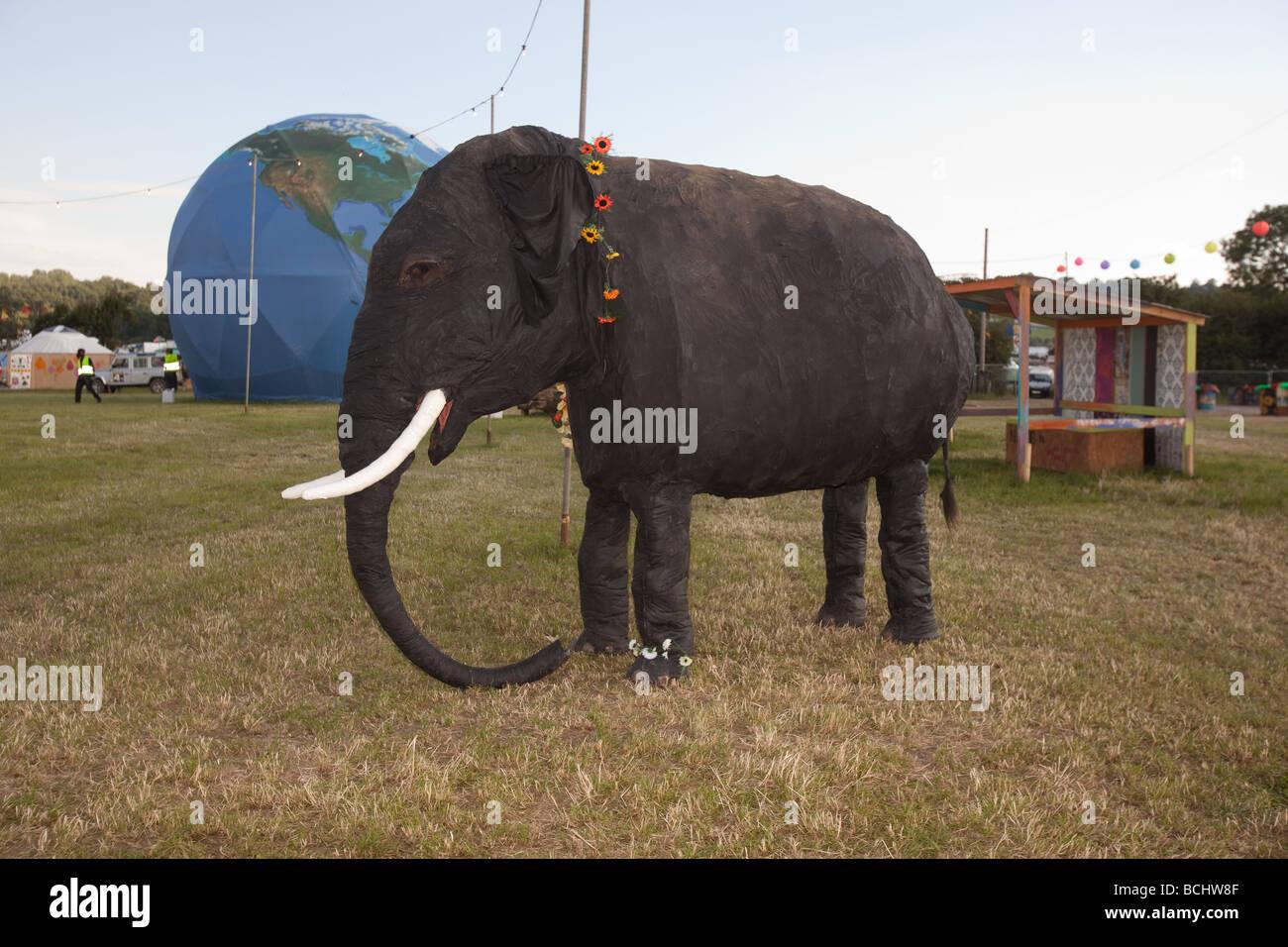 Elephant backstage at the Glastonbury Festival 2009 - Stock Image