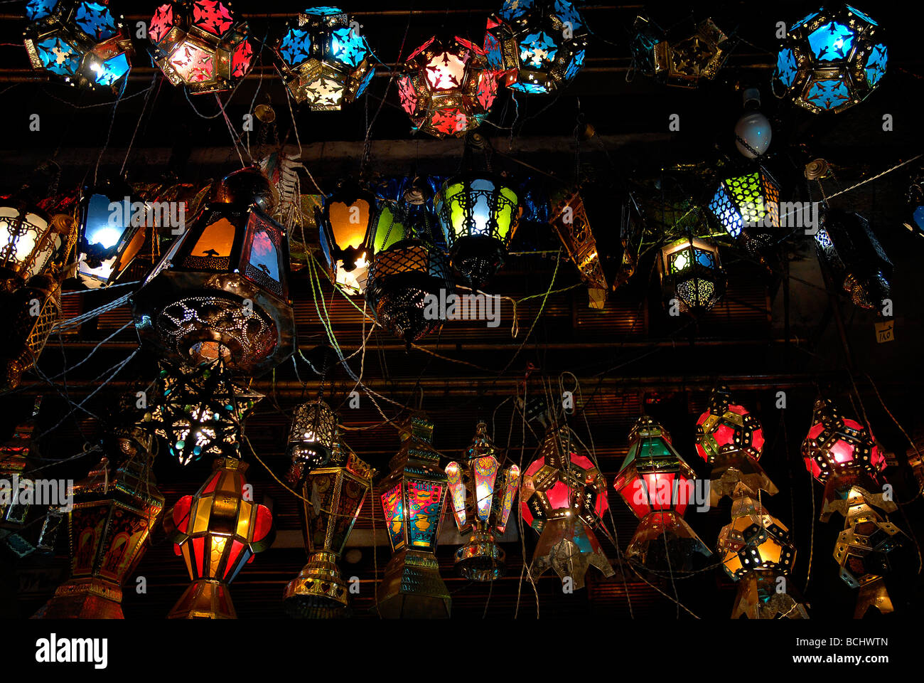 In Ramadan people buy lanterns so called fanooz to decorate their home with it. An old tradition, done by everybody. - Stock Image