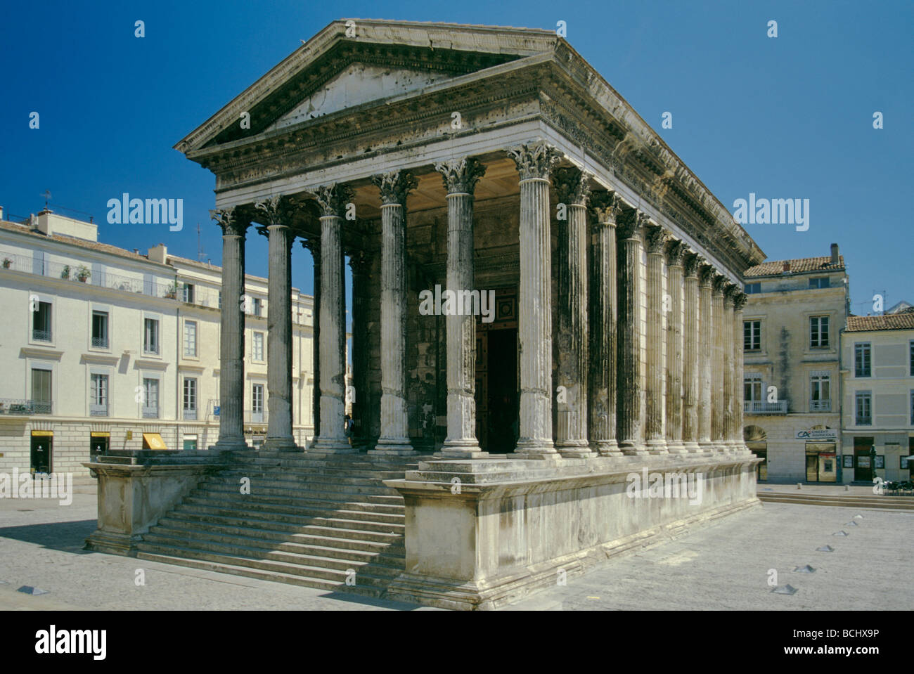 Maison Carree Square House Roman Temple At Nimes In Provence France
