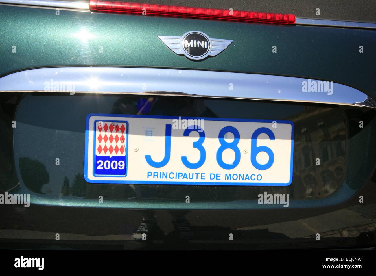 Principality of Monaco number plate - Stock Image