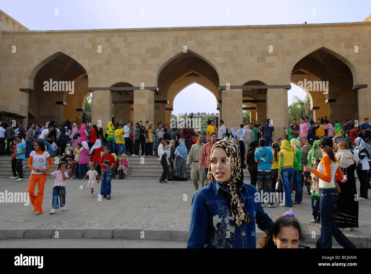 Azhar Park is always a favourite place for Egyptians to go out. During Eid El Fitr at the end of Ramadan it is especially - Stock Image