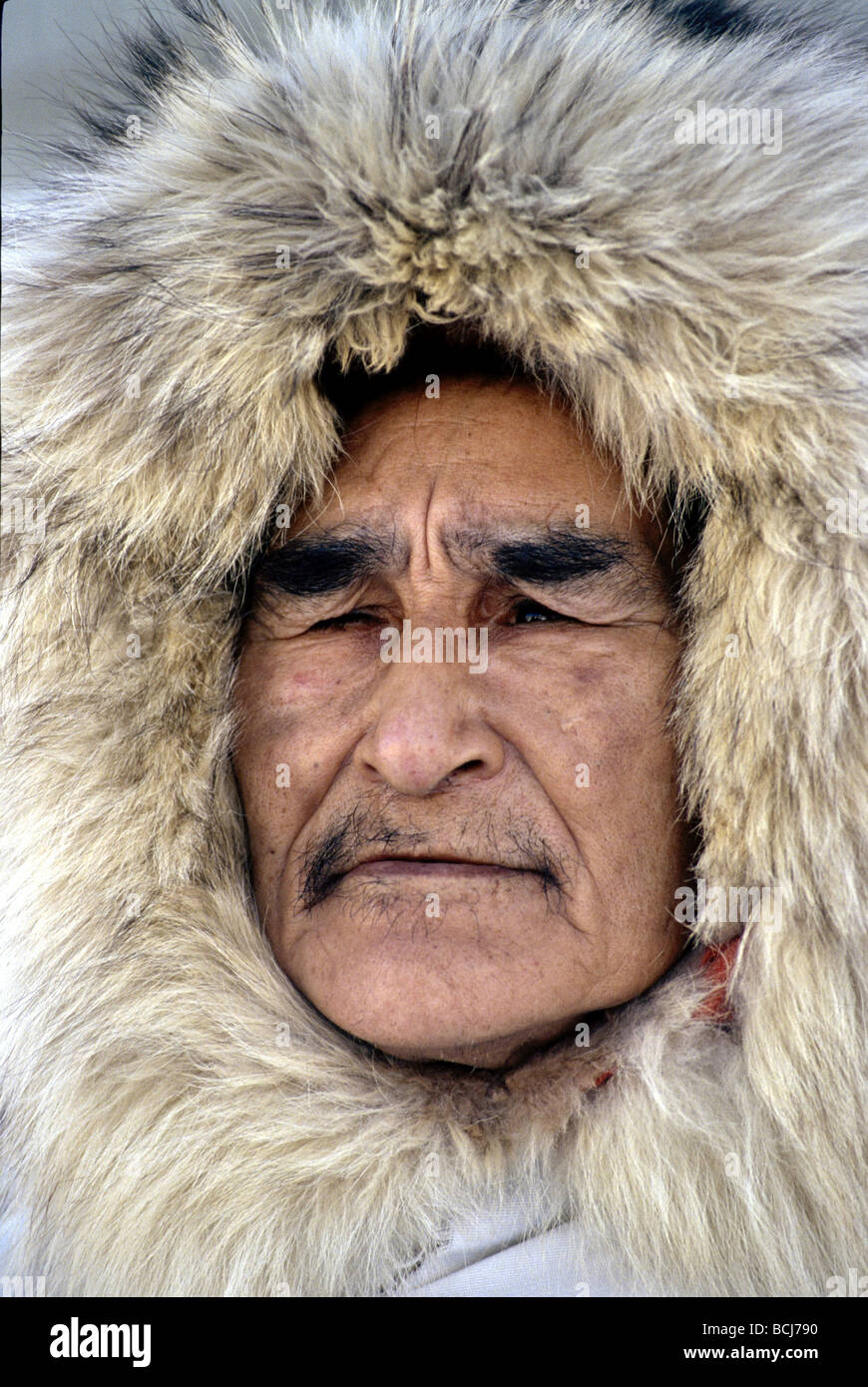 1e80a7dfc35 Alaskan Native Eskimo Man in Fur Ruff Noatak Arctic AK Winter Parka Portrait  - Stock Image