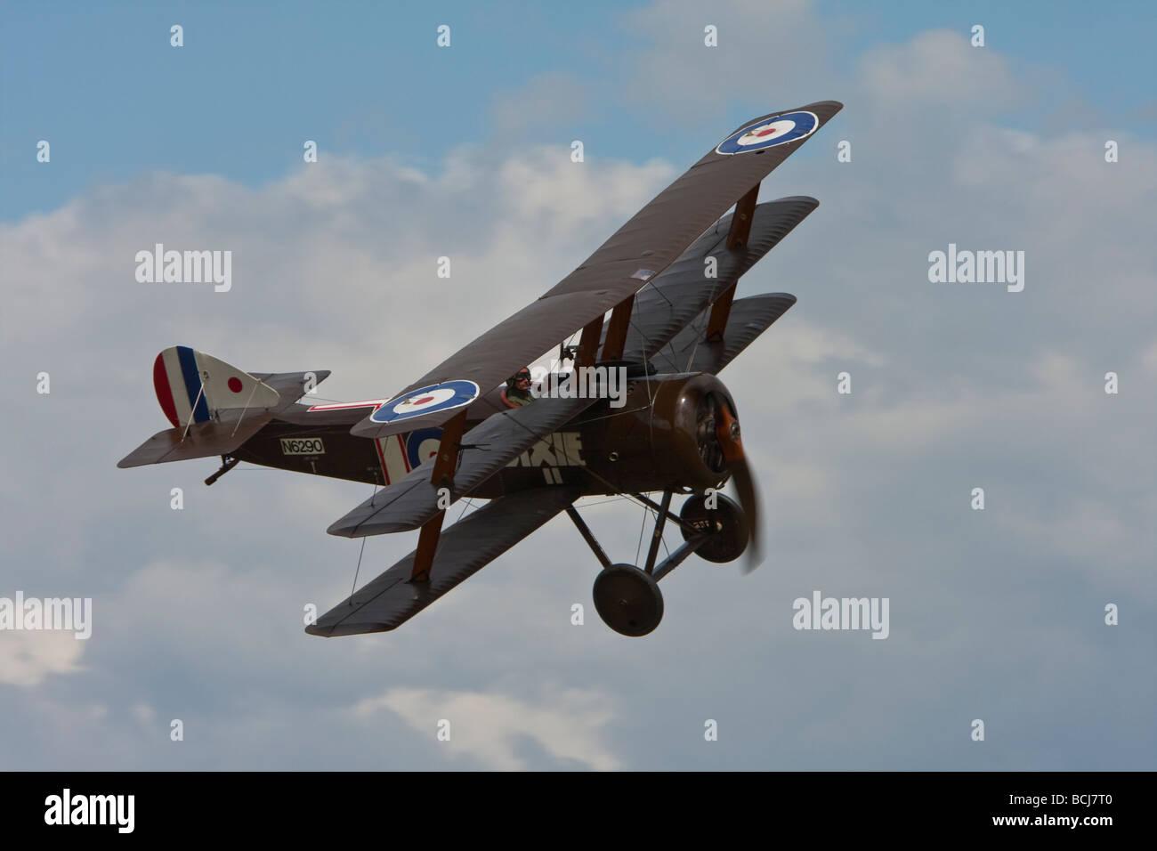 Sopwith Triplane replica reg G BOCK displaying at Old Warden Stock Photo