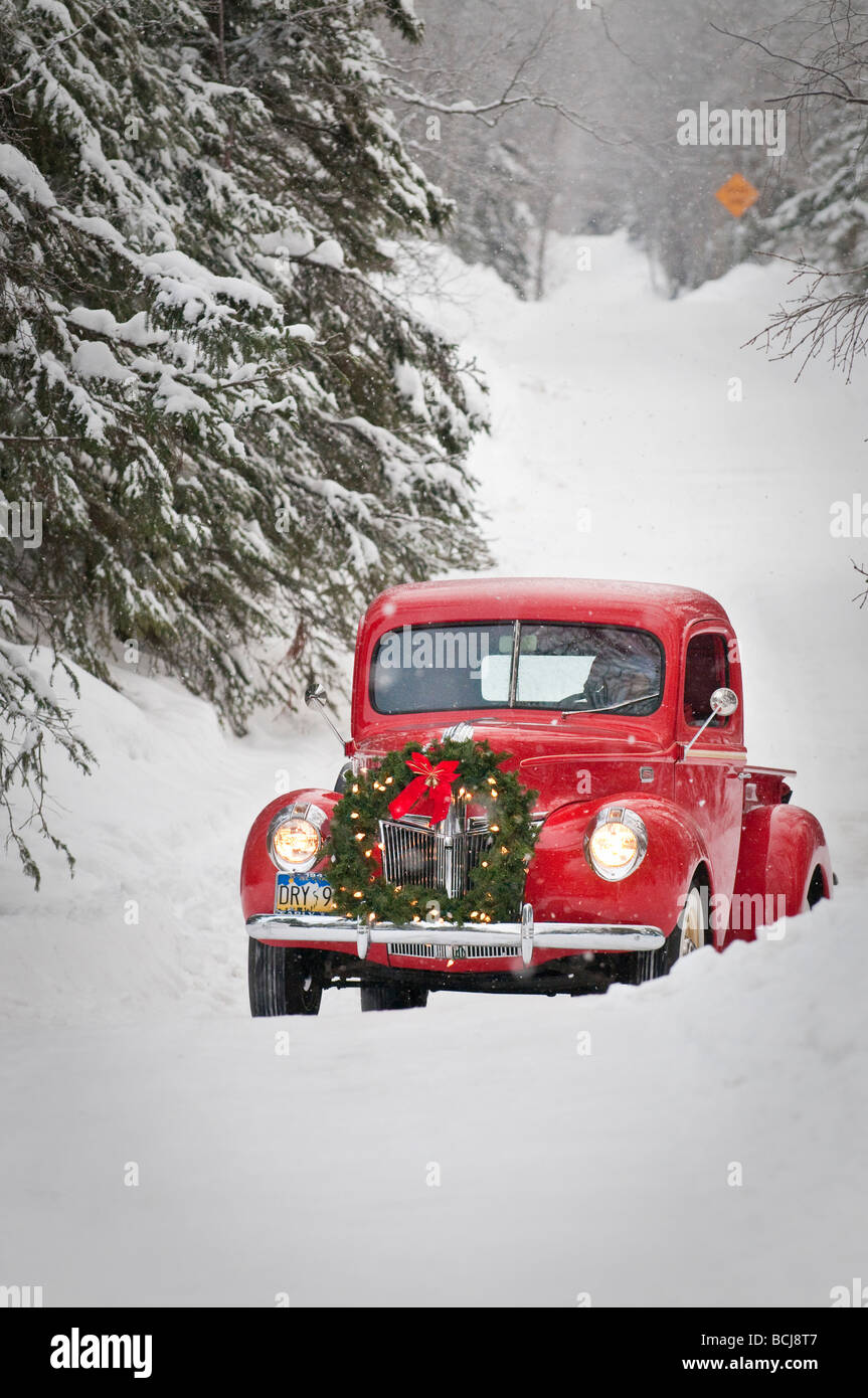 Old Red Pickup Truck Driving Stock Photos 1941 Ford Grain Man A Vintage With Christmas Wreath On The Front During Winter