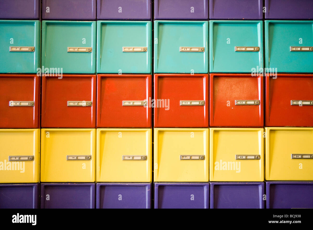 Row of colorful lockers at bowling alley - Stock Image