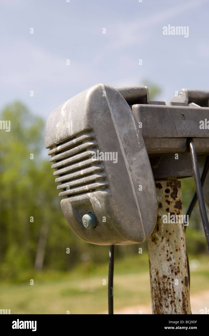Detail Of Old Drive In Movie Theater Speaker On Hook Of Pole Stock Photo Alamy