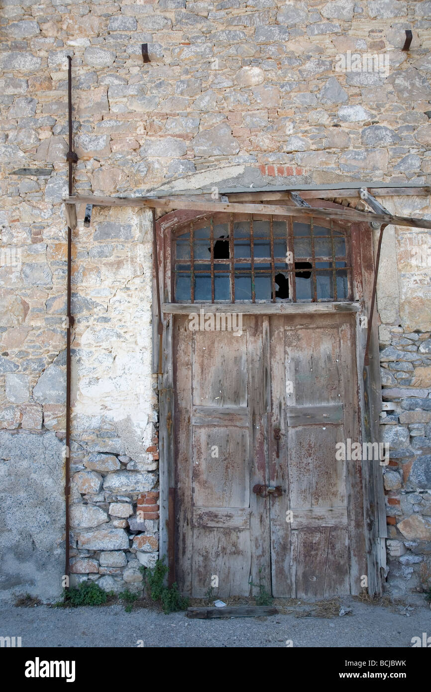 An Old Door in Lesbos, - Stock Image